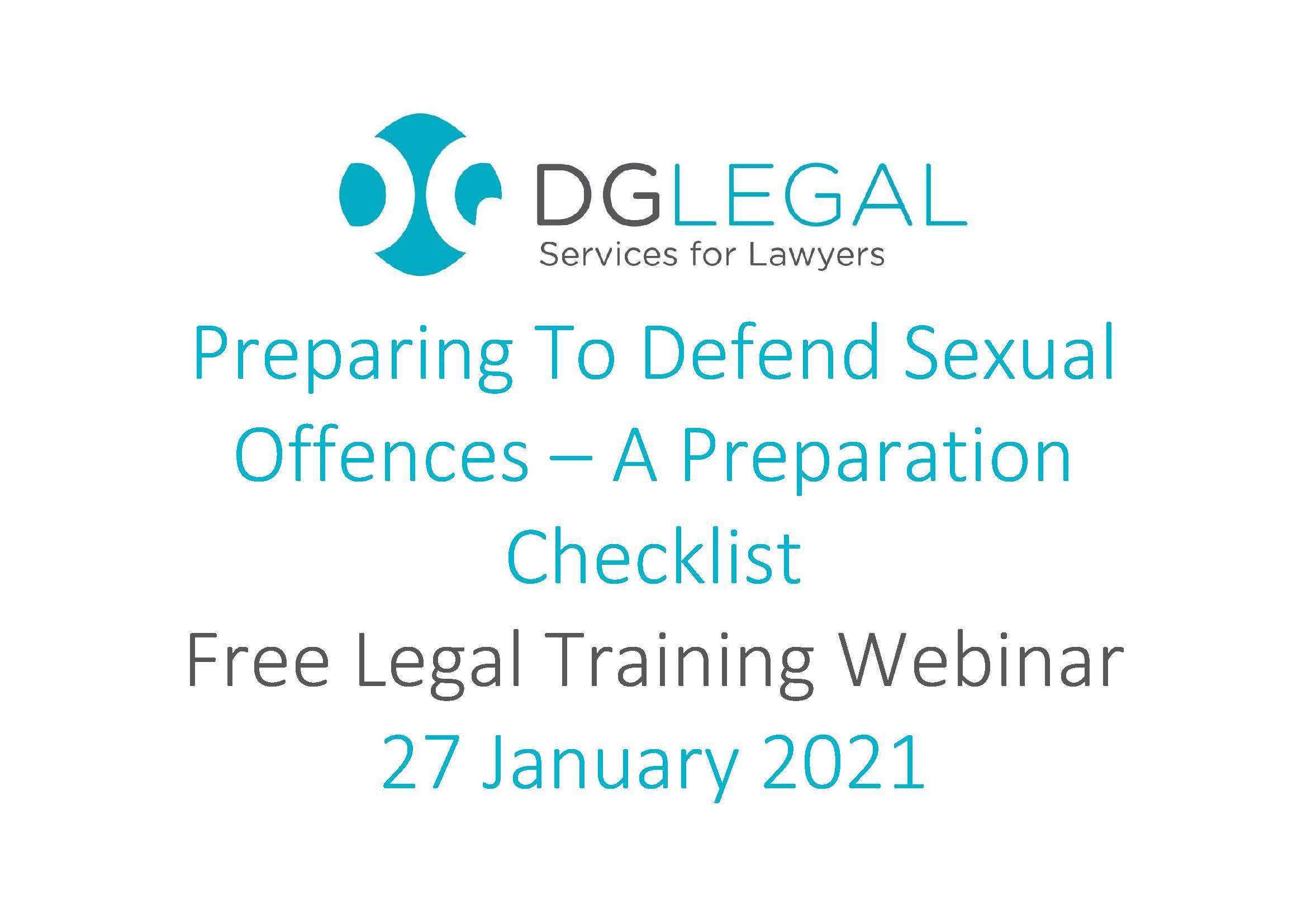 Preparing To Defend Sexual Offences – A Preparation Checklist